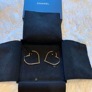 Chanel Heart Hoop Earing Gold